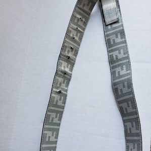 Fendi Accessories - Worn Fendi FF White Grey Leather Belt 120CM